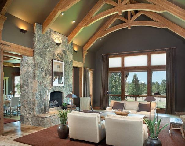 Rustic Living Room by Alan Mascord Design Associates Inc