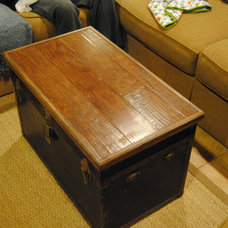 Eclectic Living Room Trunk / Chest Topper Made from Scrap Wood Floor Material