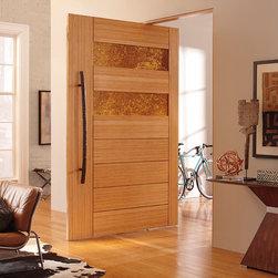 TruStile Modern Door Collection - Interior LVL Doors with Metal - TruStile Door TM9130 in LVL with Patina Etruscan Metal panels and Kerf Cut reveal