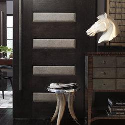 TruStile Modern Door Collection - Interior White Oak Doors with Leather - TruStile Door TM6100 in White Oak with Edelman Leather Shagreen Grey Oyster