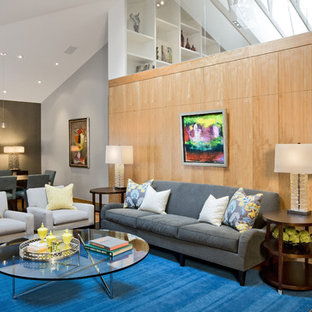 Living Room Large Contemporary Open Concept Idea In Minneapolis