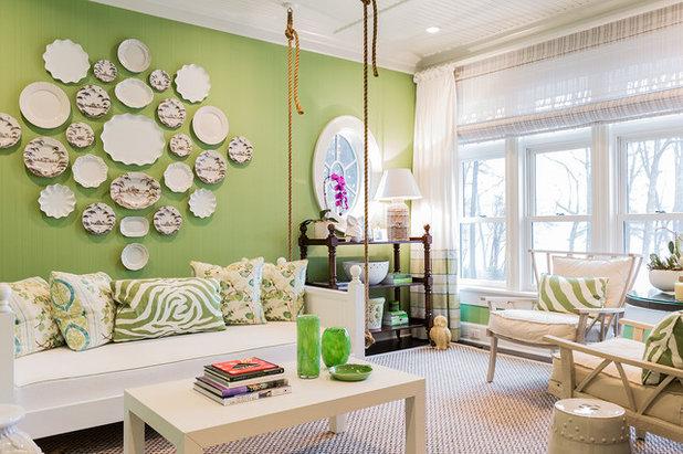 Coastal Living Room by Brookes + Hill Custom Builders