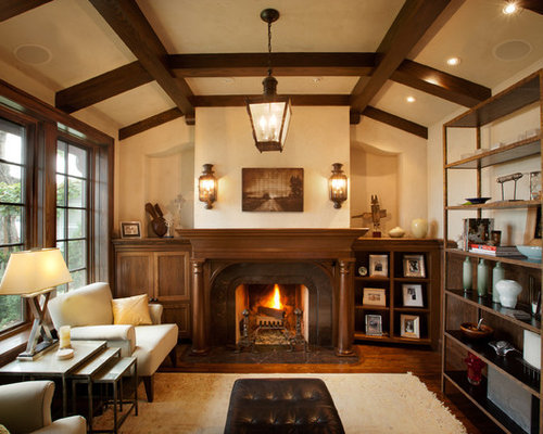 Traditional living room idea in Minneapolis with a library - Interior Wood Paneling Houzz