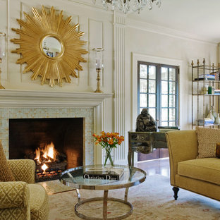 Example of a classic living room design in Other with white walls, a standard fireplace and a tile fireplace