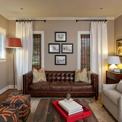 Living room - transitional living room idea in Dallas with gray walls