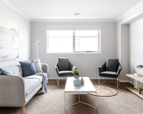This Is An Example Of A Contemporary Living Room In Melbourne With Grey Walls Carpet