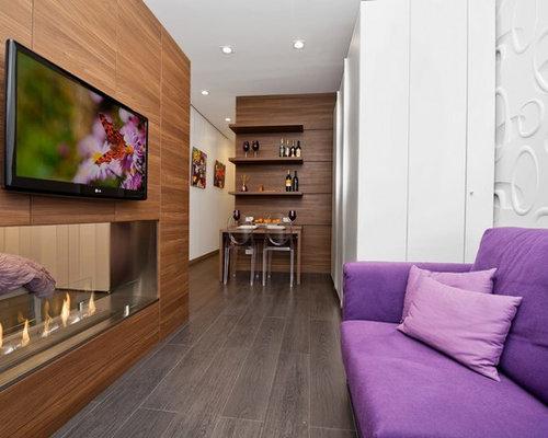wohnzimmer mit tunnelkamin und porzellan bodenfliesen. Black Bedroom Furniture Sets. Home Design Ideas
