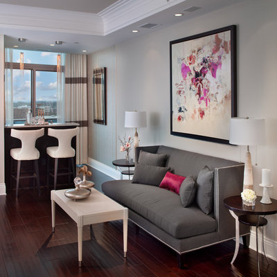 Trendy living room photo in DC Metro with gray walls