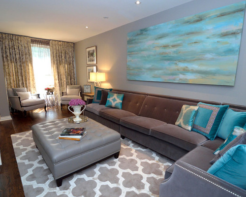 Turquoise living room houzz for B q living room curtains