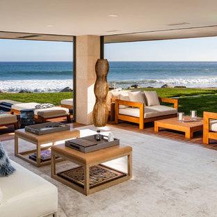 Living Room   Huge Contemporary Open Concept Light Wood Floor And Brown  Floor Living Room Idea
