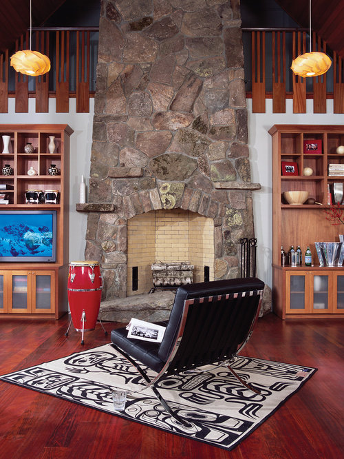 Rustic Stone Fireplace Home Design Ideas Pictures Remodel And Decor