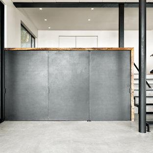 Esempio di un soggiorno minimalista di medie dimensioni e stile loft con angolo bar, pareti nere, pavimento in cemento, nessuna TV e pavimento grigio