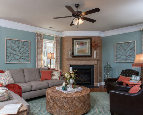 Furniture placement around corner fireplace houzz for B q living room furniture