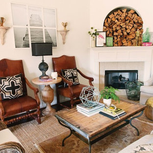 Living room - eclectic living room idea in Birmingham with a corner fireplace