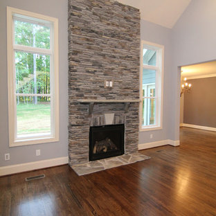 Large Transitional Open Concept Medium Tone Wood Floor Living Room Photo In Raleigh With Gray Walls Save Two Story Fireplace Surround