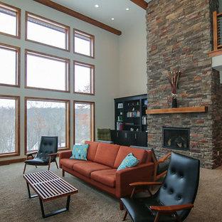 他の地域のモダンスタイルのおしゃれなLDK (カーペット敷き、石材の暖炉まわり、グレーの壁、標準型暖炉、据え置き型テレビ) の写真