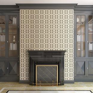 Esempio di un soggiorno contemporaneo con sala formale, pareti beige, pavimento in terracotta, camino classico e cornice del camino in intonaco