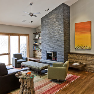 Minimalist living room photo in Minneapolis with a stone fireplace