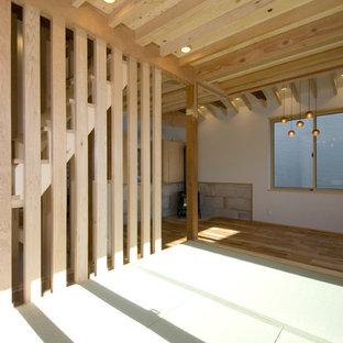 Diseño de salón abierto, rural, pequeño, con paredes blancas, tatami, chimenea de esquina, marco de chimenea de baldosas y/o azulejos, televisor colgado en la pared y suelo verde