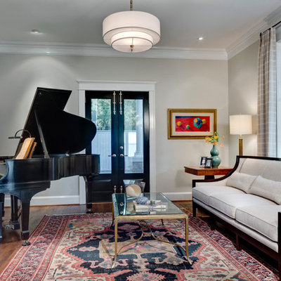 Inspiration for a timeless living room remodel in Dallas with a music area