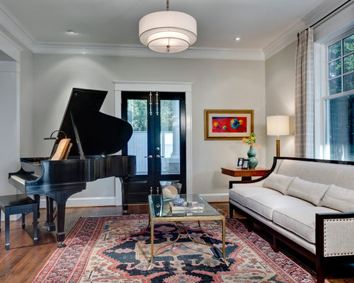 Inspiration For A Timeless Living Room Remodel In Dallas With Music Area