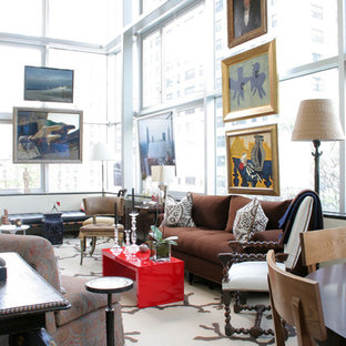 Example of a large trendy living room design in New York