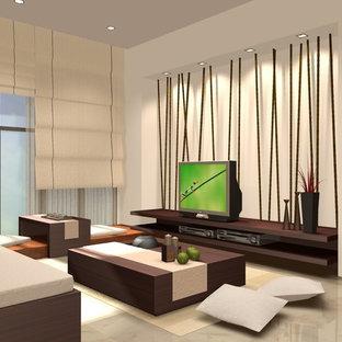 Immagine di un soggiorno minimalista di medie dimensioni e aperto con sala della musica, pareti bianche, pavimento in marmo, nessun camino e TV autoportante