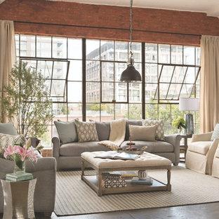 ロサンゼルスの中サイズのトラディショナルスタイルのおしゃれなLDK (コンクリートの床、暖炉なし、テレビなし) の写真