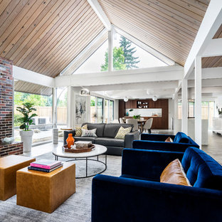 Living Room   Small 1950s Open Concept Concrete Floor And Gray Floor Living  Room Idea In