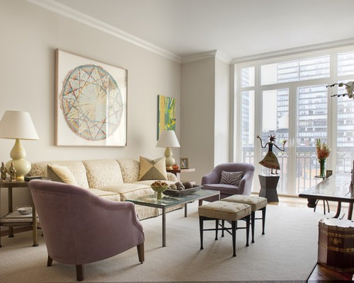 Living room design in new york with beige walls and medium tone