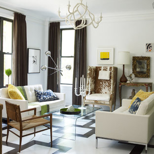 Example of an eclectic multicolored floor living room design in New York with white walls