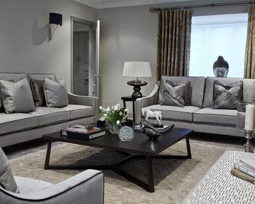 Living Room Design With Grey Sofa - Rize Studios