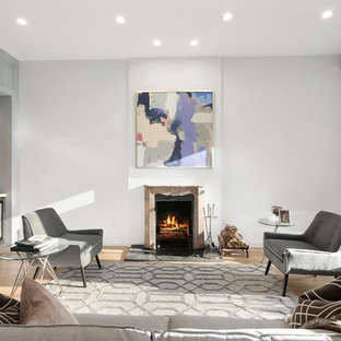 Living Room Transitional Light Wood Floor Idea In New York With Gray Walls