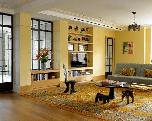 soggiorno contemporaneo con pareti gialle - foto, idee, arredamento - Soggiorno Pareti Gialle 2