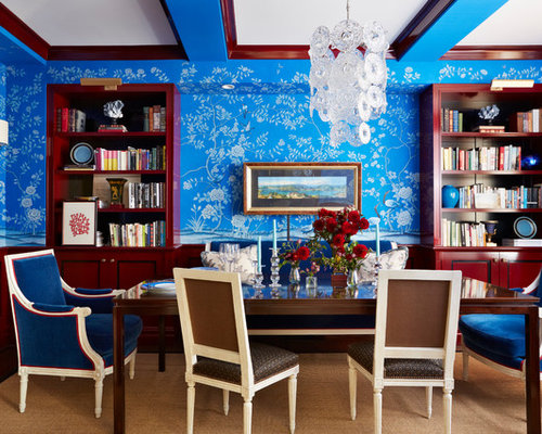 Large Eclectic Carpeted And Beige Floor Living Room Idea In New York With Blue Walls