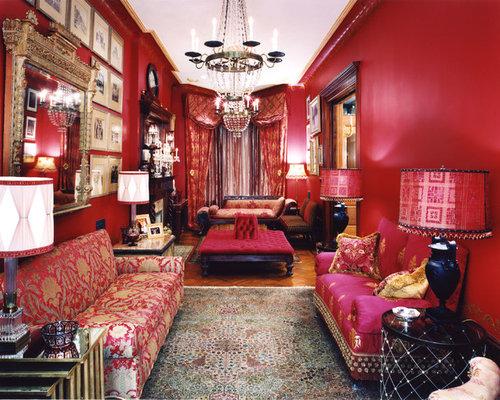 salon victorien avec un mur rouge photos et id es d co. Black Bedroom Furniture Sets. Home Design Ideas