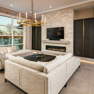 This is an example of a medium sized classic open plan living room in Omaha with brown walls, porcelain flooring, a ribbon fireplace, a stone fireplace surround, a wall mounted tv and brown floors.