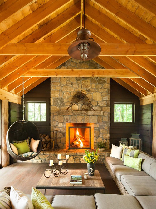 Mountain Style Living Room Photo In New York With A Standard Fireplace And  A Stone Fireplace Part 22