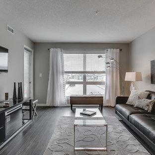 Ispirazione per un soggiorno design con pareti grigie, parquet scuro e TV a parete
