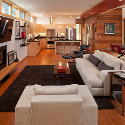 Inspiration for a contemporary living room remodel in Minneapolis with white walls