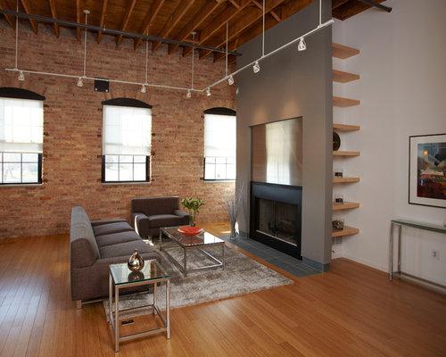 industrial wohnzimmer mit bambusparkett ideen design