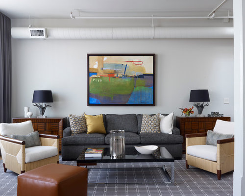 Trendy Living Room Photo In Chicago With White Walls