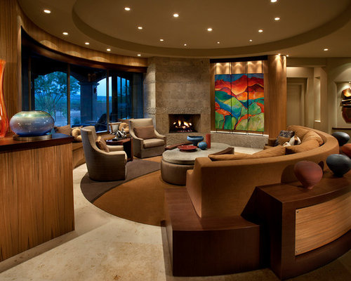 Marvelous Large Contemporary Open Concept Living Room Idea In Phoenix With A Standard  Fireplace, Beige Walls