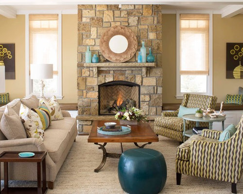 Trendy Living Room Photo In Denver With Yellow Walls A Standard Fireplace And Stone