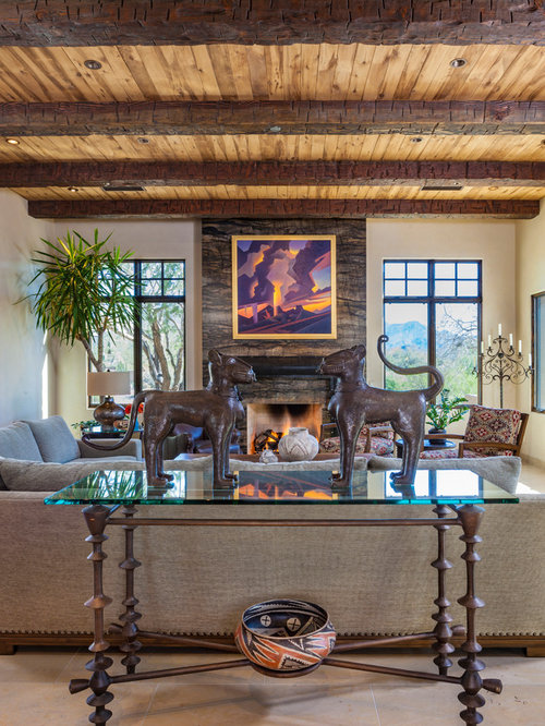 Large Southwest Open Concept Living Room Photo In Phoenix With Beige Walls,  Limestone Floors,