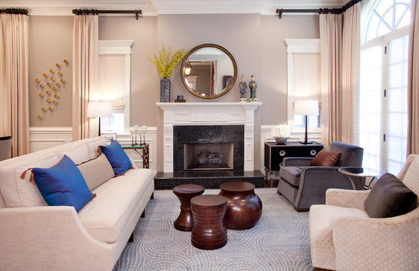 Transitional Living Room by Lisa Wolfe Design, Ltd