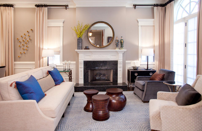 Transitional Living Room by Lisa Wolfe Design, Ltd