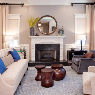 Mid-sized transitional formal and open concept dark wood floor and brown floor living room photo in Chicago with gray walls, a standard fireplace and no tv
