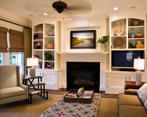 Built ins around fireplace houzz Built in shelves living room
