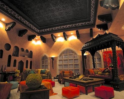 soggiorno etnico con pareti arancioni - foto e idee per arredare - Idee Arredamento Soggiorno Etnico 2